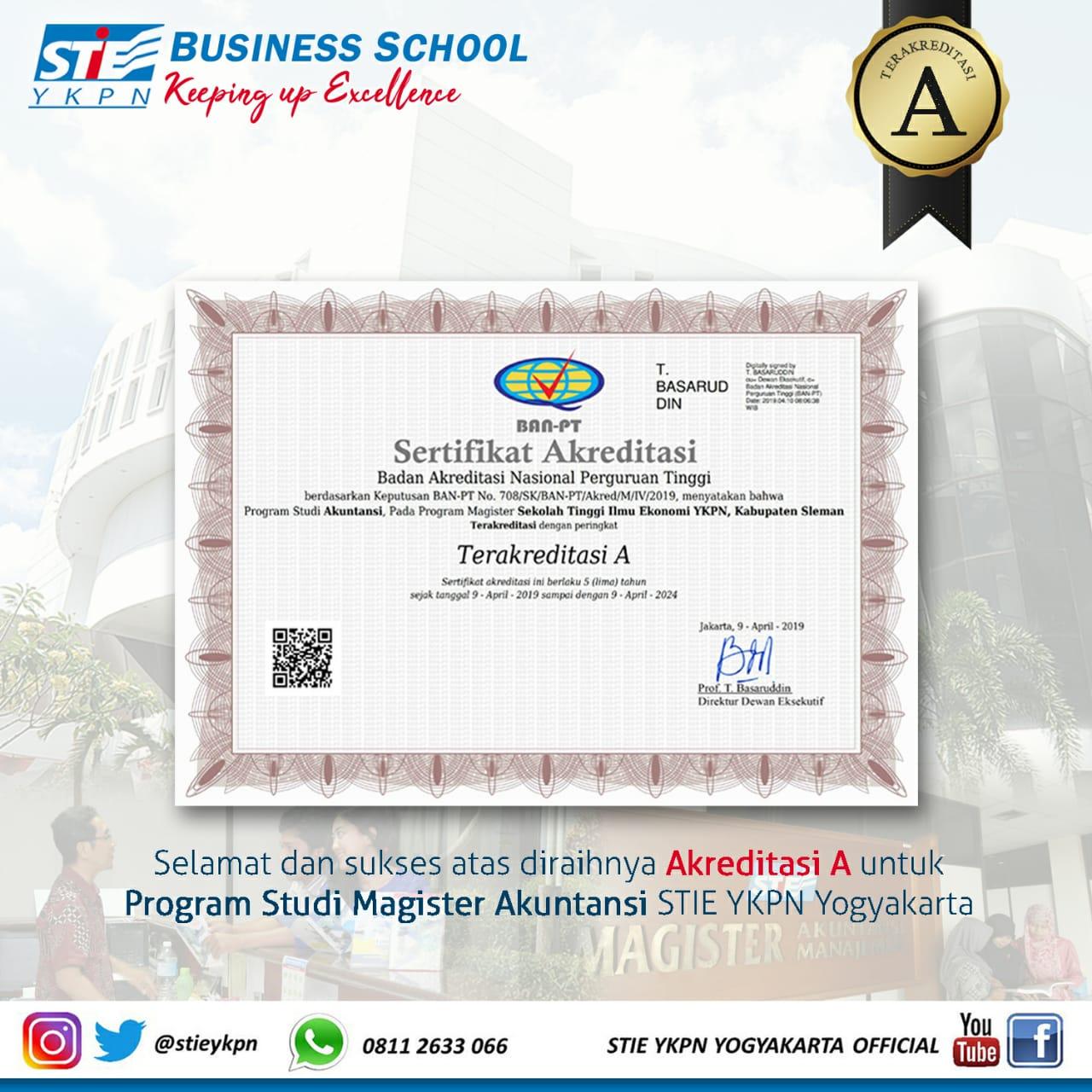 Akreditasi A Untuk Program Studi Magister Akuntansi