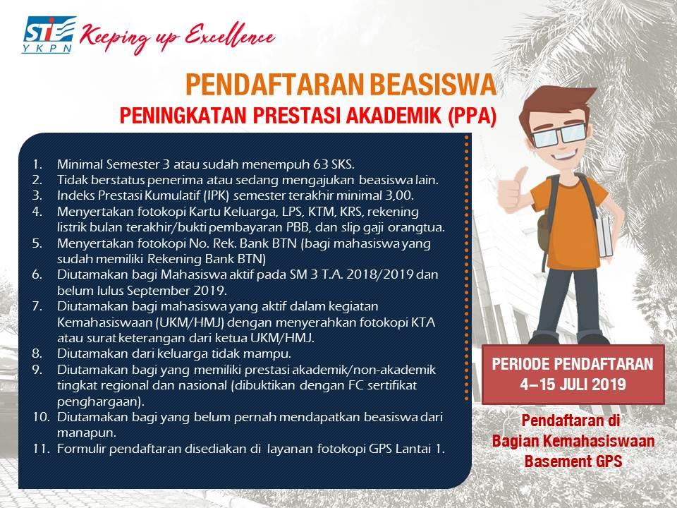 Pendaftaran Beasiswa Prestasi Akademik (PPA)
