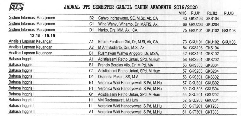 Jadwal Ujian Tengah Semester (UTS) Semester Ganjil TA 2019/2020