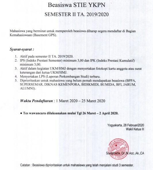 Pendaftaran Beasiswa STIE YKPN Sem II TA. 2019/2020