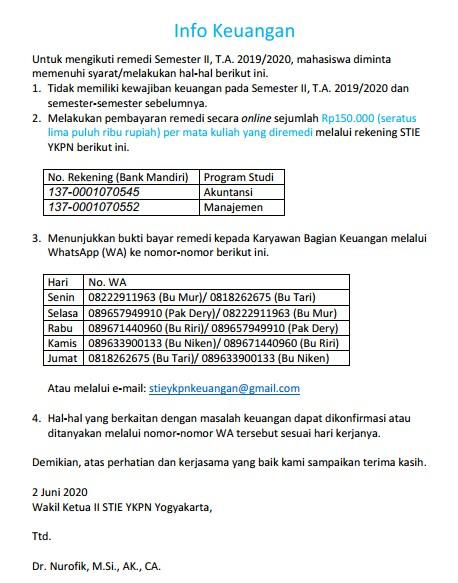 Informasi Keuangan Terkait Remedi Sem Genap TA 2019/2020