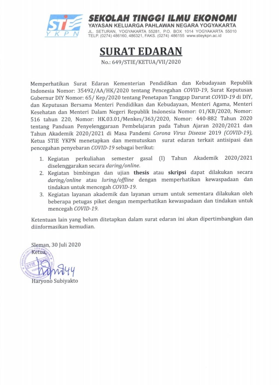 SURAT EDARAN KULIAH DARING SEMESTER GASAL TA 2020/2021