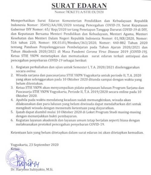 Surat Edaran Ketua STIE YKPN Tentang Wisuda Sem 2 TA 2019/2020