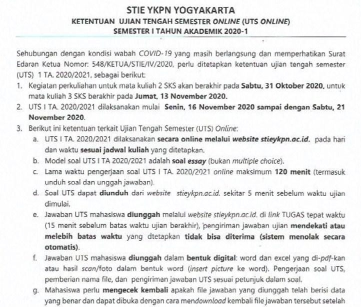 Ketentuan Ujian Tengah Semester Ganjil  TA 2020/2021
