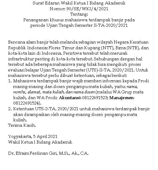 Surat Edaran Wakil Ketua I Bidang Akademik - Penanganan khusus mahasiswa terdampak banjir pada  periode Ujian Tengah Semester II-TA-2020/2021