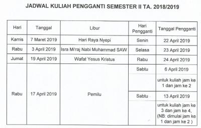 Jadwal Kuliah Pengganti Semester II TA. 2018/2019