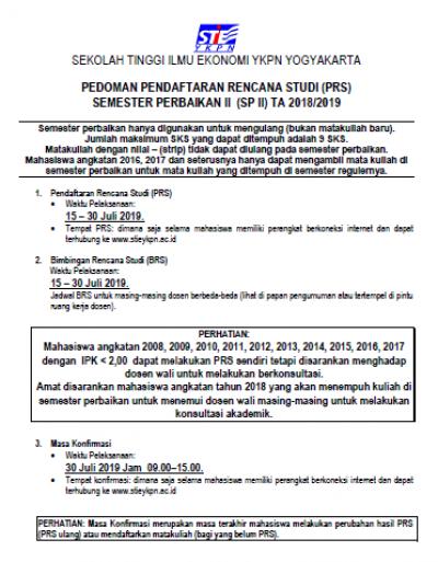 Semester Perbaikan 2 TA 2018/2019