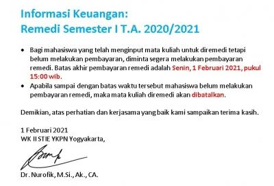 Informasi Keuangan Remedi Semester I TA 2020/2021
