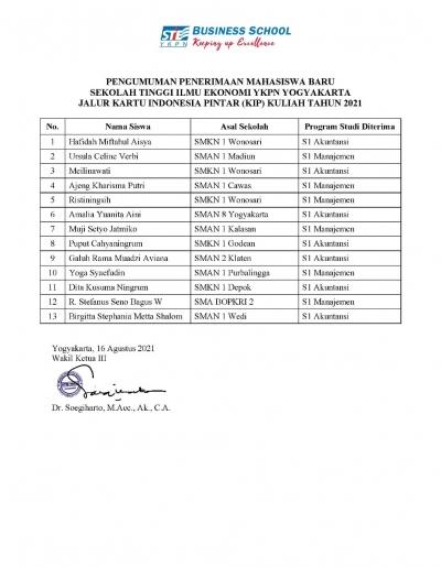 Pengumuman Penerima KIP Kuliah STIE YKPN 2021