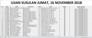 Jadwal Ujian Susulan UTS Sem Ganjil 2018