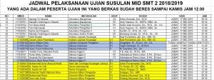 Jadwal Pelaksanaan Ujian Susulan Mid Smt 2 2018/2019