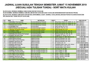 Jadwal Ujian Susulan Tengah Semester Jumat 15 November 2019