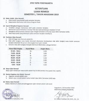 Ketentuan Ujian Remedi 2019