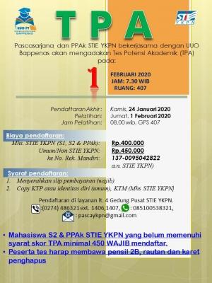 Tes Potensi Akademik (TPA) PAsCASARJANA dan PPAk