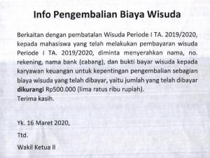 Info Pengembalian Biaya Wisuda