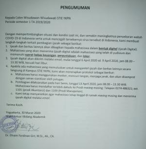 Pengambilan Ijazah Wisudawan Wisudawati Periode Semester I TA 2019/2020