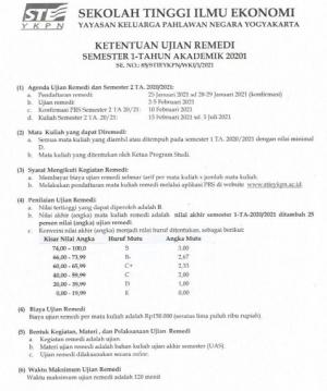Ketentuan Ujian Remedi Sem I TA 20201