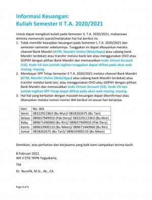 Informasi Keuangan Sem 2 TA 2020/2021