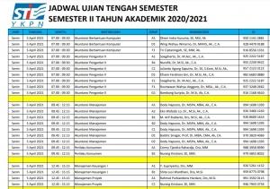 Jadwal Ujian Tengah Semester II TA 2020/2021