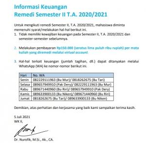 Informasi Keuangan Remedi Semester II T.A. 2020/2021