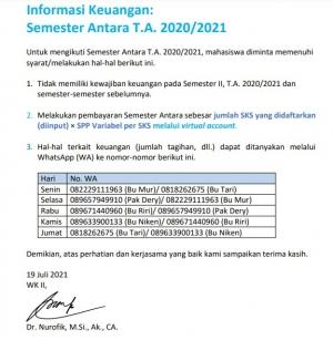 Informasi Keuangan : Semester Antara TA 2020/2021
