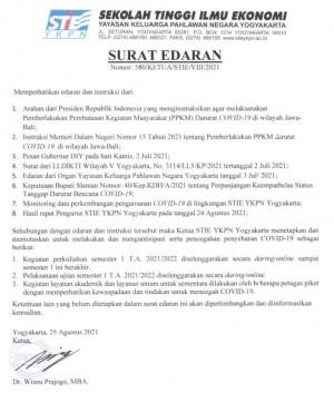 Surat Edaran Kuliah Online Sem I TA 2021/2022